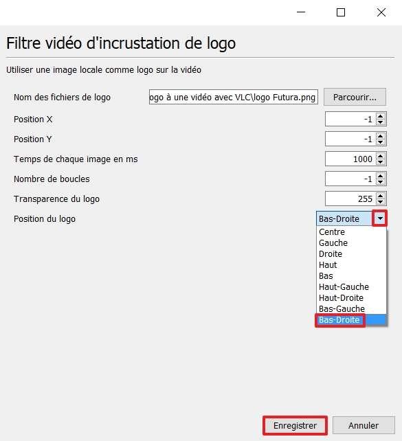 Choisissez l'emplacement du logo sur votre vidéo. © VideoLAN Organization