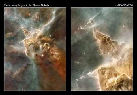 Détails d'une zone de formation d'étoiles massives. Ces montagnes d'hydrogène sont déchirées par les rayonnements ultraviolets émis par les jeunes étoiles. Les plus puissantes ont littéralement sculpté ce grand pilier. Dans l'image de droite, les deux jets de gaz témoignent de la présence d'une étoile. Crédits : Nasa, Esa, N. Smith (UC Berkeley) / Hubble Heritage Team (STScI/Aura)