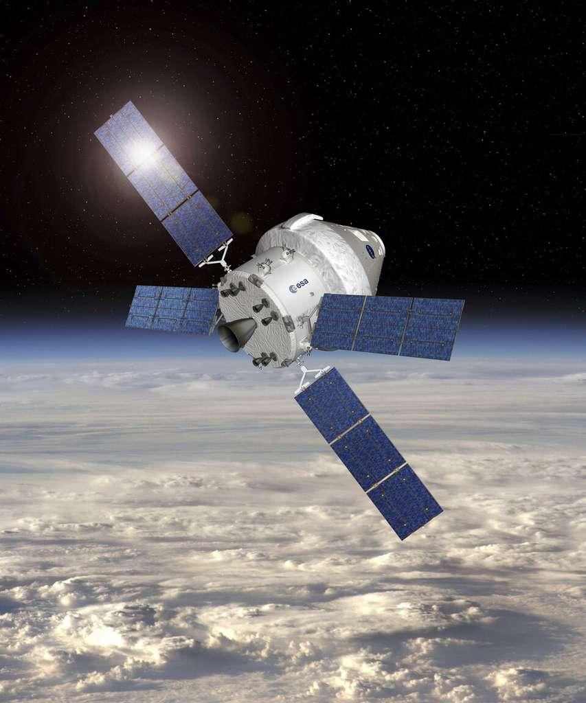 Représentation du vaisseau Orion, dont le module de service est construit par l'ESA. © ESA, Nasa
