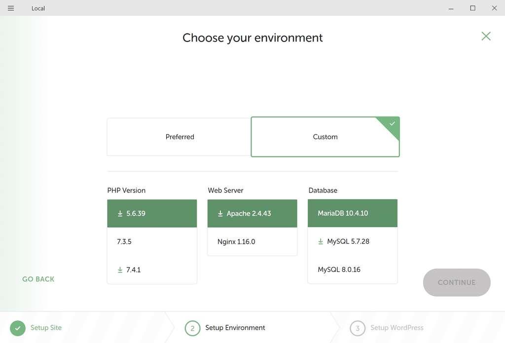 L'environnement personnalisé propose différentes options de PHP, de serveur et de base de données. © Flywheel