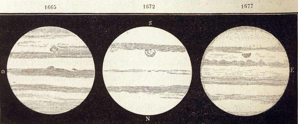 Dessins de Jupiter et de la tache rouge réalisés par Jean-Dominique Cassini entre 1665 et 1677. La découverte de ce phénomène est attribuée à l'astronome franco-italien. Les croquis suggèrent que sa taille était alors comparable à celle observée aujourd'hui. © Amédée Guillemin, Le Ciel, 1877