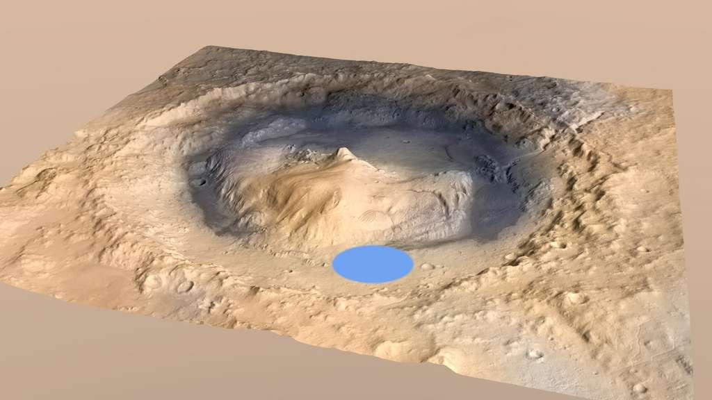 Le cratère Gale à l'intérieur duquel doit se poser Curiosity pour une mission qui devrait durer plus de deux années terrestres. © Nasa/JPL/Esa/DLR/FU Berlin/MSSS