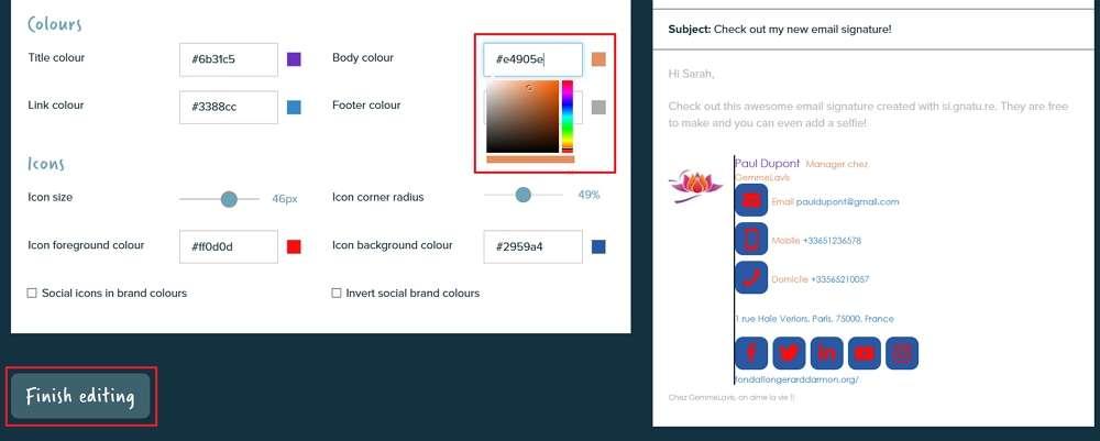 Changez la couleur des caractères et des icônes. © Si.gnatu.re