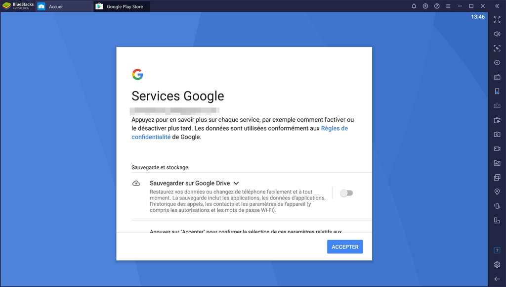 Configuration des Services Google (sauvegarde Google Drive). © Bluestacks Systems Inc.