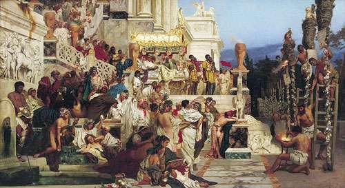 Le règne de l'empereur Néron est marqué par la persécution des chrétiens. Ici, le tableau Les torches de Néron (1876), par Henryk Siemiradzki. © DP