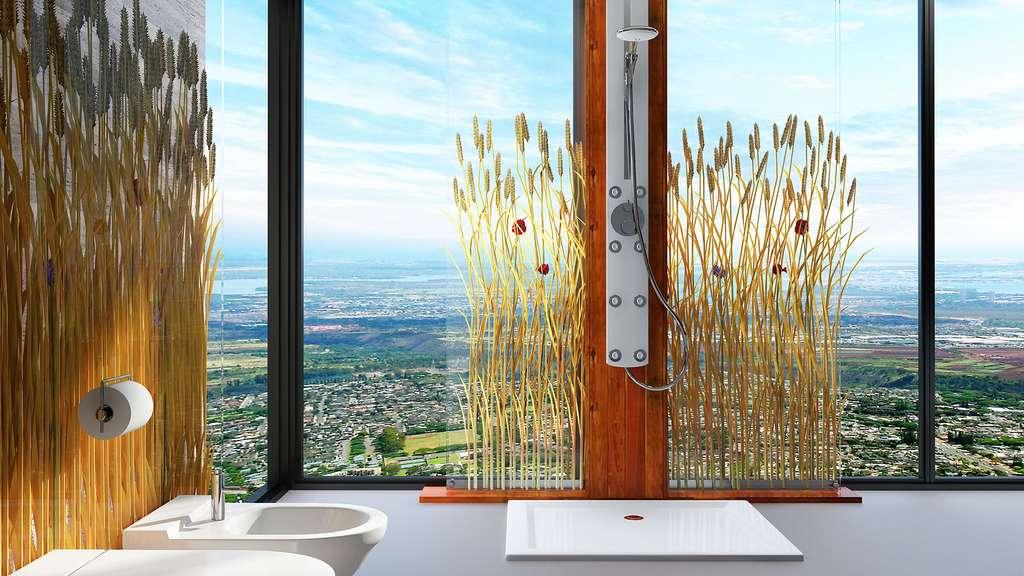 Une salle de bain très nature