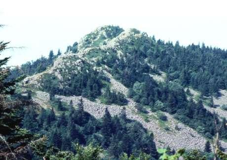 Chirats du massif des Trois Dents. Le bourrelet arqué au centre est une moraine de névé, témoignant de l'accumulation de la neige. Elle n'est plus active actuellement.