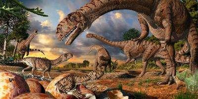 Reconstitution d'une scène datant de 190 millions d'années, sur un site de nidification de Massospondylus. © Julius Csotonyi