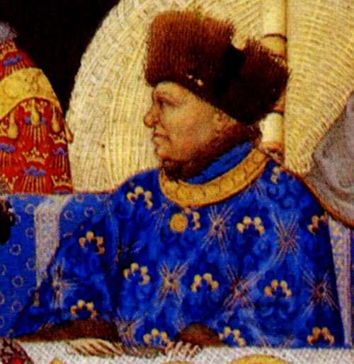 Les Très riches heures du duc de Berry sont célèbres pour leur calendrier illustré en pleines pages. Présents dans tous les livres d'heures, les calendriers permettent au fidèle de prévoir ses prières en fonction du jour et du mois de l'année. Sur certaines miniatures, on peut identifier les personnages de l'époque, à l'instar de Jean de Berry de profil, sur le feuillet du mois de janvier. © DP
