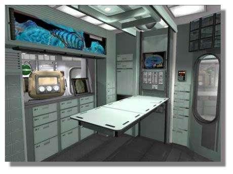 Représentation de ce que pourrait être le bloc médical du futur avant-poste d'exploration martienne. Crédits : ImagineMars