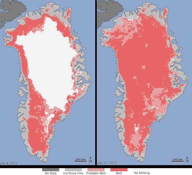 Les cartes synthétisées à partir des données radar du satellite indien Oceansat-2 montrant l'état de la glace de surface. Le code couleur est quelque peu trompeur. Le blanc indique les régions où la glace est exempte de toute eau liquide (No melting, Pas de fonte). Le gris clair montre les zones sans neige ni glace (Ice/Snow Free), le rose celles où une fonte est probable (Probable Melt) et le rouge là où elle est certaine (Melt). Deux points sont surprenants : 4 jours seulement séparent les deux images (prises le 8 juillet pour celle de gauche et le 12 juillet pour sa voisine) et les parties en blanc couvrent, durant l'été, environ la moitié de la surface de la calotte (47 % sur l'image de gauche) alors que le 12 juillet elles se réduisent à 3 %. © Michon Scott, Nicolo E. DiGirolamo, SSAI/Nasa GSFC/ Allen, Nasa Earth Observatory