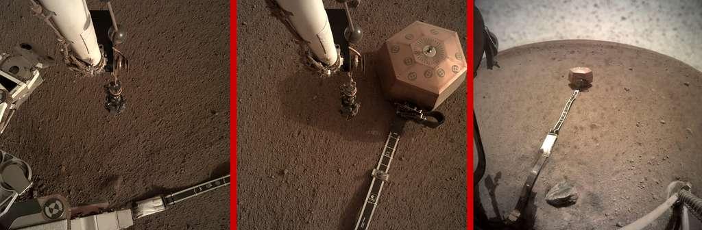Différentes étapes de l'installation du sismomètre Seis sur le sol martien. © Nasa, JPL-Caltech
