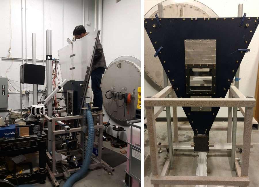 La machine créée par Ben Musci pour reproduire les motifs caractéristiques des nébuleuses. © Ben Musci, Georgia Tech