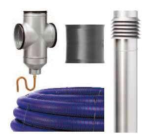 De gauche à droite et de haut en bas : un collecteur géothermique (PE, Ø 200 mm, L. 50 m. réf. EWT-E 200 L50), la borne de prise d'air Ø 200 en acier galvanisé (à peindre) avec triple filtre G. (réf. EWT-A 200 GALVA), la régulation double T en tôle d'acier galvanisé Ø 200 mm, avec trappe de visite (nettoyage) et évacuation des condensats (réf. EWT-F SIPHON 200), et le manchon de liaison Ø 200 mm, avec 2 joints d'étanchéité adaptés (réf. EWT-M 200.) Modèle puits canadien-provençal Econologique (env. 2.040 euros). © Helios