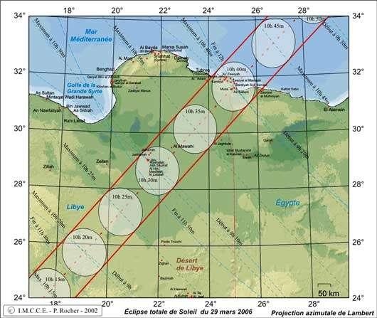 Fig. 14 : course de l'ombre sur la Libye © : Patrick Rocher/IMCCE - Reproduction et utilisation interdites.