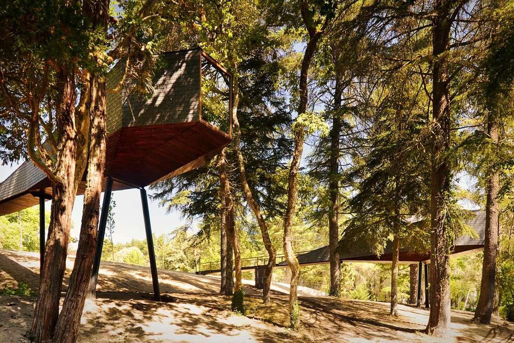 Cette maison en bois se distingue par sa longue passerelle d'accès. © Rebelo de Andrade Studio