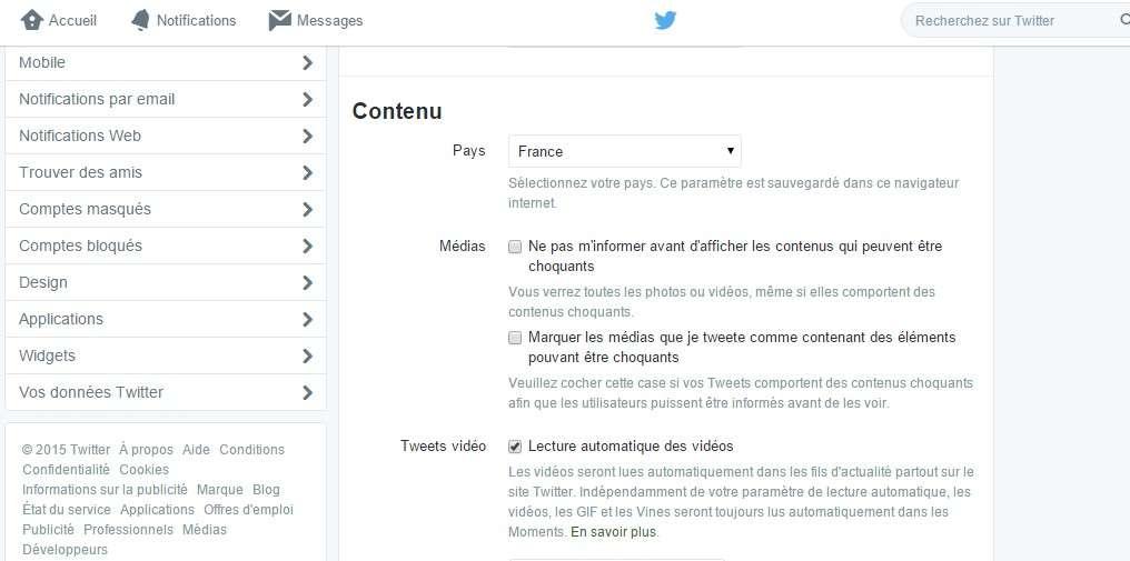 La lecture automatique des vidéos et des GIFs sur Twitter se désactive depuis les paramètres de la version Web. © Futura-Sciences