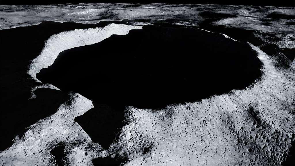 Le cratère Shackleton, situé au pôle sud, est un des sites envisagés pour installer une base lunaire. © ESA, Jorge Mañes Rubio