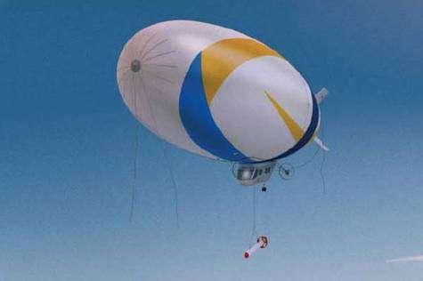Le dirigeable de l'expédition Total Pole Airship en configuration de vol (vue d'artiste). Crédit: Total Pole Airship.