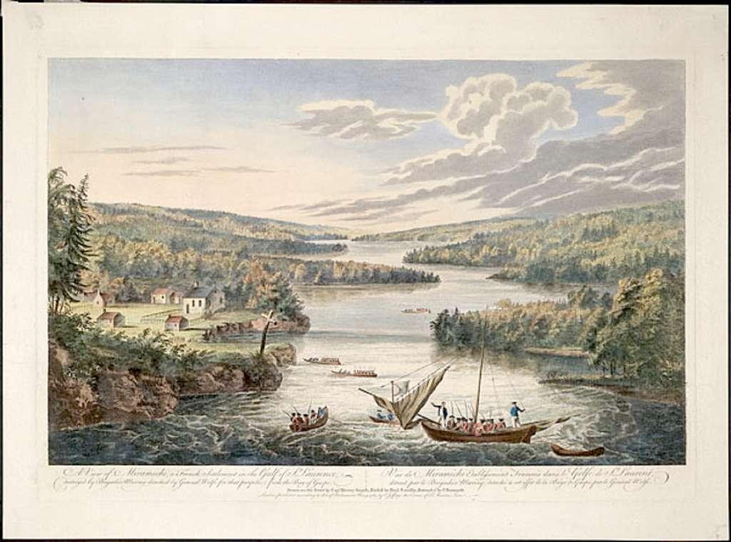 Acadie, site de Miramichi (golfe du Saint-Laurent), établissement français détruit par les Anglais en 1760. © Encyclopédie canadienne, Historica Canada