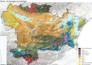 Cliquez sur la carte pour l'agrandir - Géologie de l'Aude