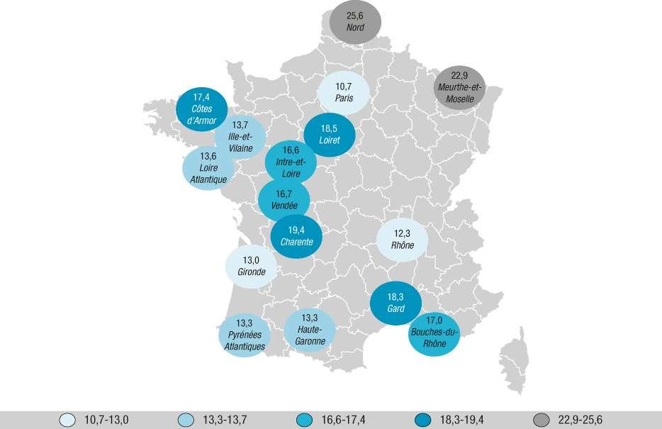 Prévalence de l'obésité dans 16 départements français : le Nord et la Meurthe-et-Moselle dépassent les 20 %. © BEH n°35-36, 2016, Santé publique France