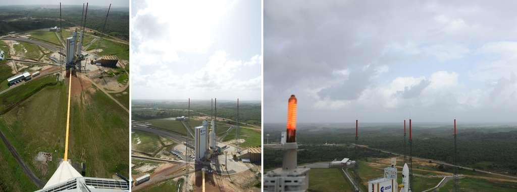 La zone de lancement d'Ariane 5 vue depuis le sommet du château d'eau, à 90 mètres de hauteur. Les quatre grands paratonnerres sont bien visibles. © S. Corvaja, Esa