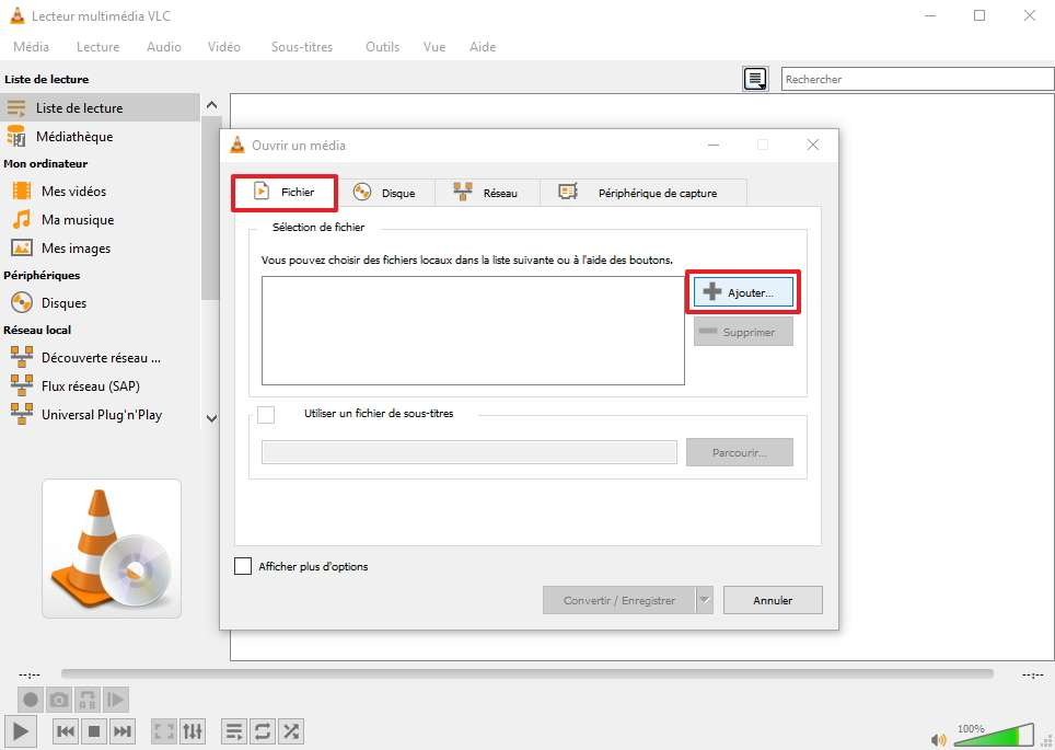 Il faut cliquer sur Ajouter dans l'onglet Fichier pour pouvoir sélectionner la vidéo de son choix. © VideoLan