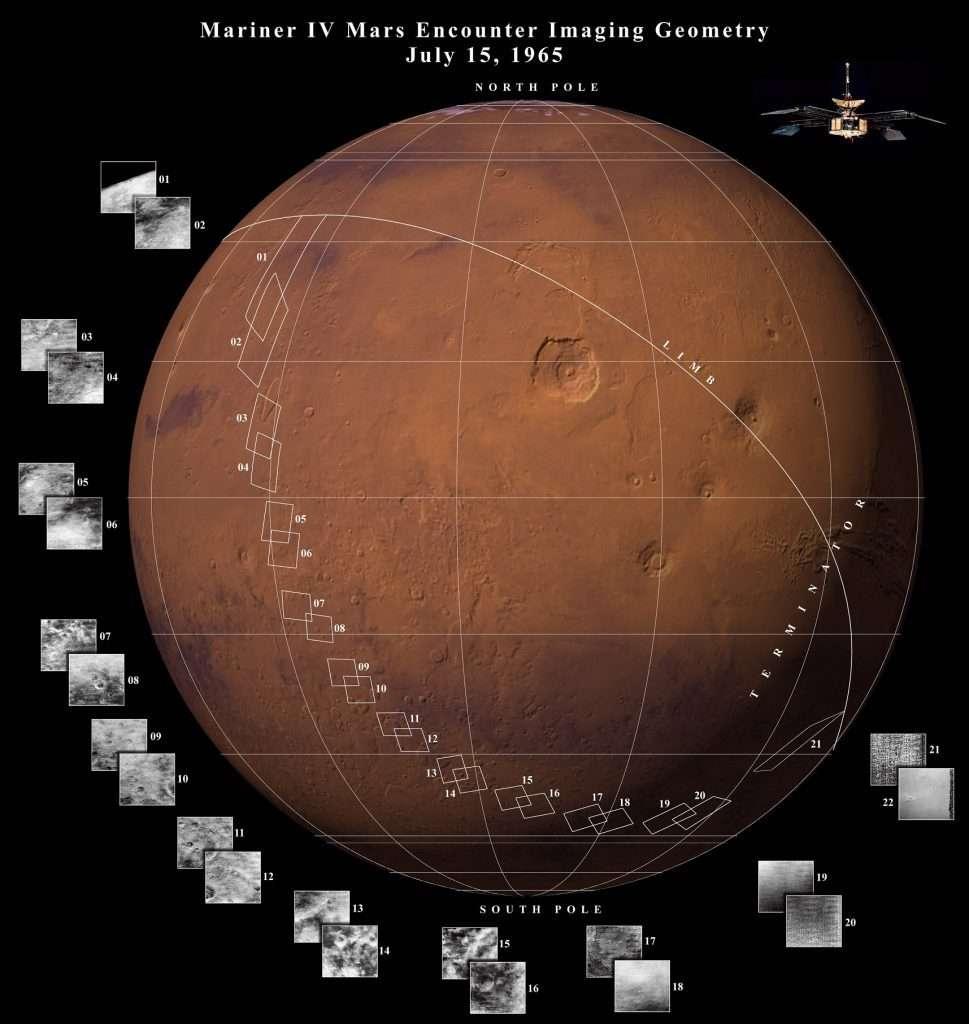 Les premières photos de Mars prises par la sonde Mariner 4 en 1965. © A. Öner, Nasa