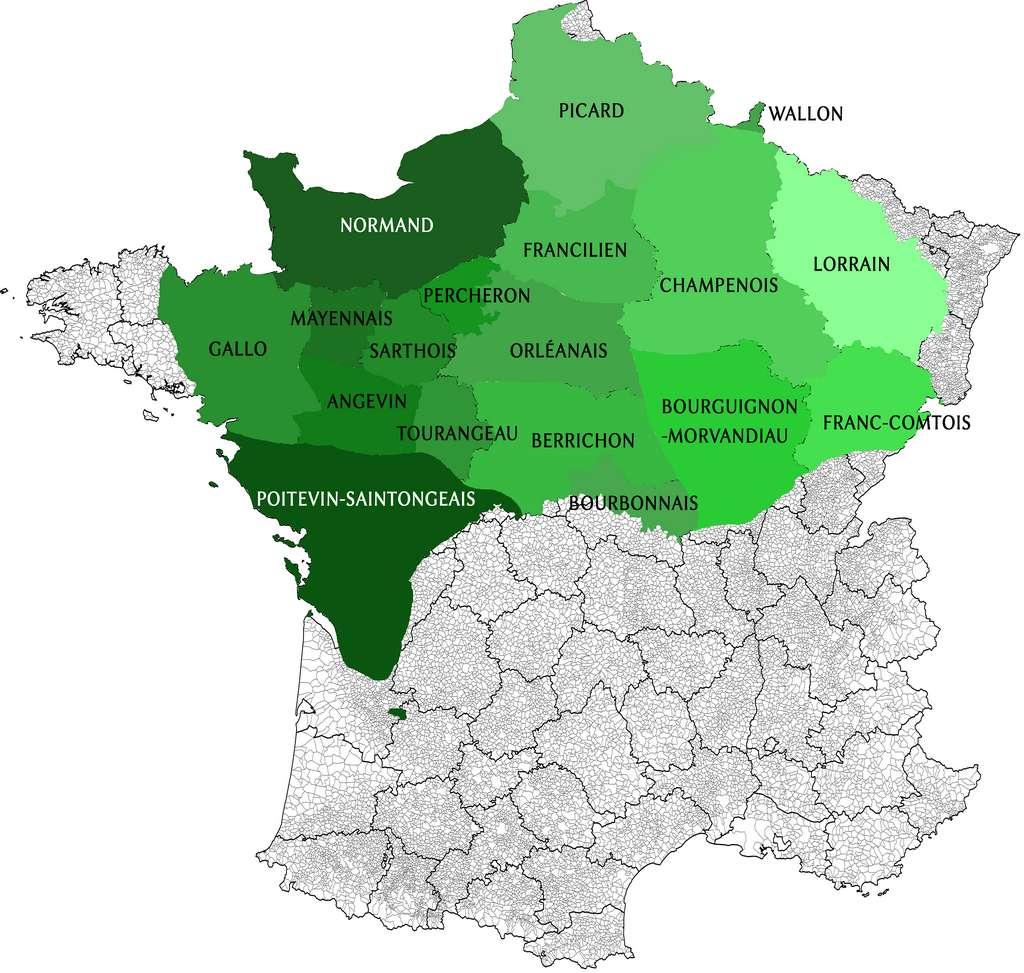 Carte du domaine d'oïl, découpage territorial des langues d'oïl. Auteur : Lyokoï, Wiktionnaire. © Wikimedia Commons, domaine public.
