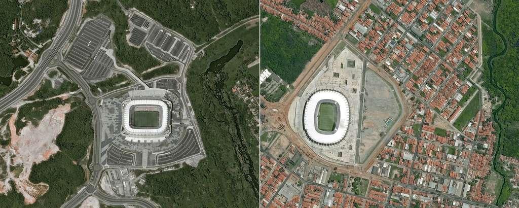 De gauche à droite, les villes de Recife (Arena Pernambuco) et Fortaleza (Estádio Castelão) accueilleront également des matchs de la Coupe du monde. @ Cnes 2014/Distribution Astrium Services/Spot Image S.A.