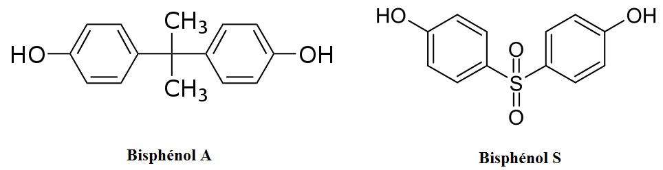 Les bisphénols A et S ont une structure chimique assez proche, comme le montre ces représentations simplifiées. © DR
