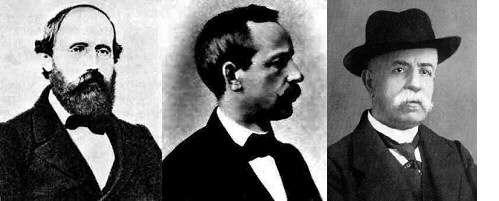 De gauche à droite, Riemann, Christoffel, Ricci-Curbastro, les mathématiciens ayant développé les outils de géométrie non euclidienne nécessaires à la formulation de la relativité générale. © DR