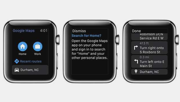 Après trois ans d'absence, Google Maps revient sur l'Apple Watch. © Google