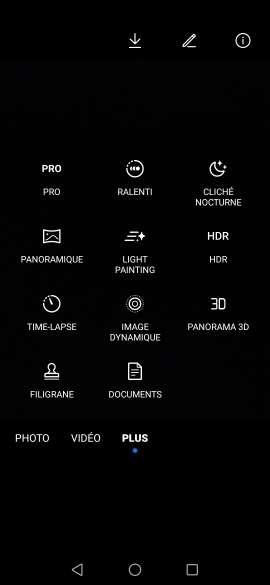 Le mode Pro (ici sur Huawei Mate 20) permet d'ajuster les paramètres de l'appareil photo. © DR