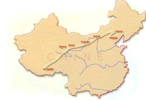 Carte du trajet de Pékin à Lhassa. © DR