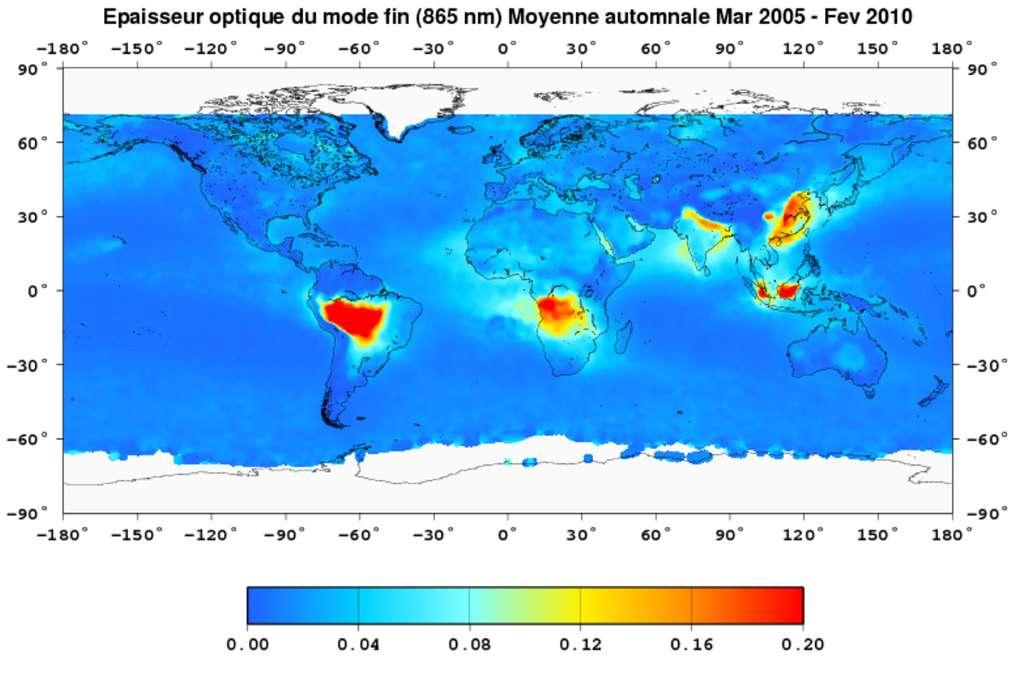 Épaisseur optique des aérosols déduite des données du satellite Parasol. Les valeurs reportées sont des moyennes (à la longueur d'onde 865 nm) sur les mois de septembre, octobre et novembre et sur cinq années, de 2005 à 2009. Émerge la pollution urbaine et industrielle asiatique (principalement en Chine et en Inde), à laquelle s'ajoutent la culture sur brûlis et la déforestation en Afrique centrale, en Amazonie et en Indonésie. L'épaisseur optique est ici essentiellement reliée à la présence d'aérosols dans le mode d'accumulation (particules de rayon inférieur à 0,5 µm). Figure extraite de l'ouvrage Le climat à découvert, sous la direction de Catherine Jeandel et Rémy Mosseri. © Rémy Mosseri, Catherine Jeandel et al., CNRS éditions, 2011