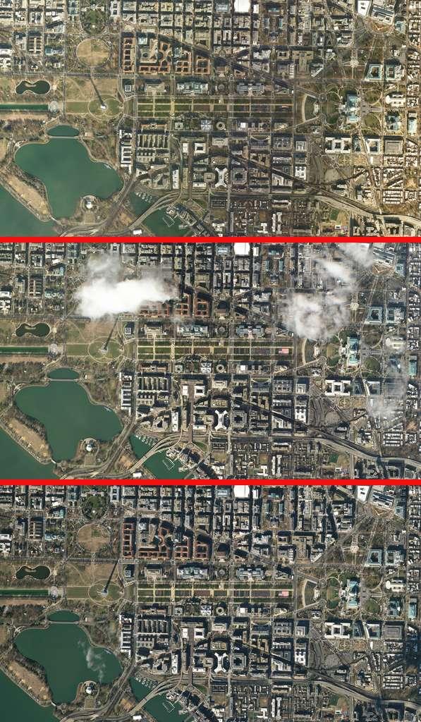 Vue depuis l'espace, l'installation des 200.000 drapeaux américains sur le National Mall pour la 59e cérémonie d'investiture présidentielle des États-Unis. © 2021 Planet Labs, Inc.