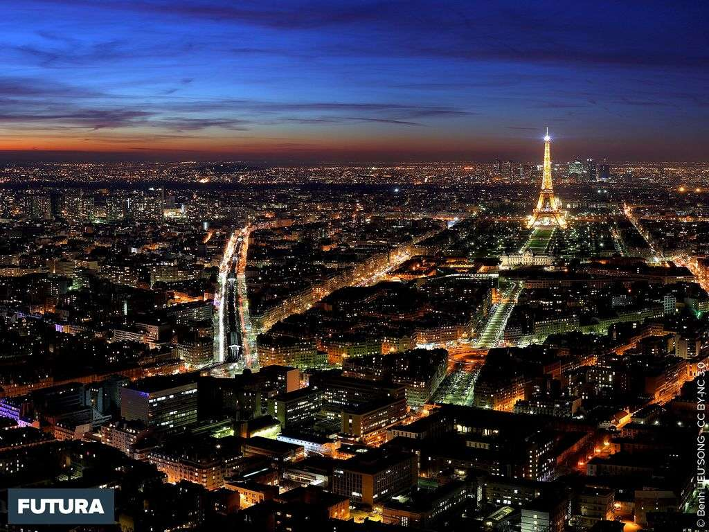 Panorama de Paris la nuit