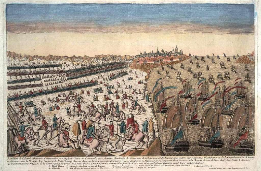 Bataille de Yorktown en octobre 1781, reddition de l'armée anglaise commandée par Cornwallis. Gravure d'époque, auteur inconnu. © Wikimedia Commons, domaine public