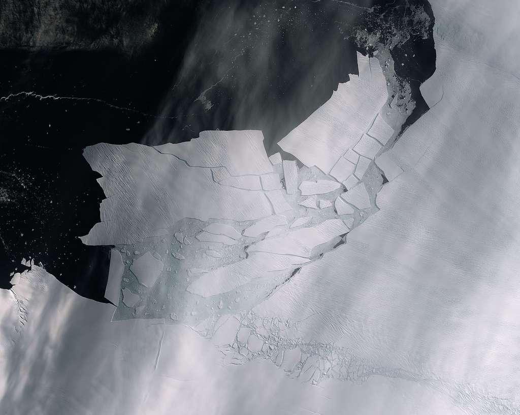 Sur cette photo prise par Sentinel-2 le 11 février 2020, l'iceberg juste après sa formation. © ESA