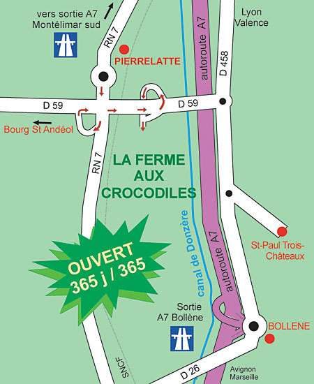 Localisation de la ferme aux crocodiles. © Association S.O.S. Crocodiles