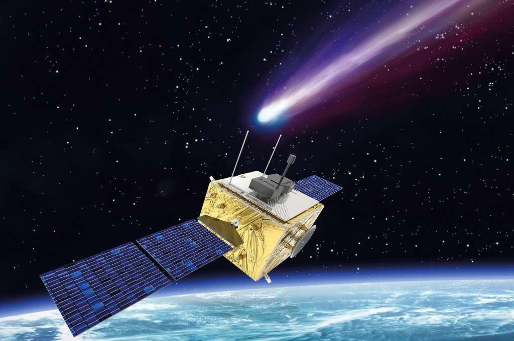 Vue d'artiste de Comet Interceptor (Comet-I) d'une des architectures envisagées pour cette mission. © Thales Alenia Space