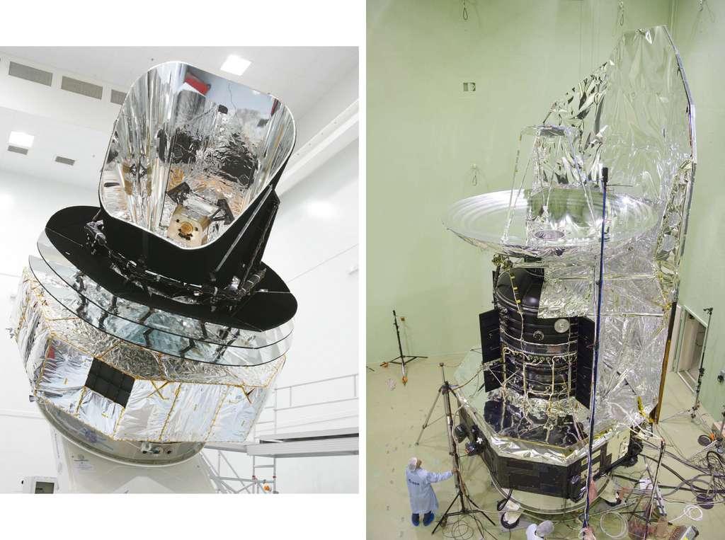 Les satellites Planck (gauche) et Herschel. Planck est vu au Centre spatial de Liège en vue de ses essais environnementaux grands froids. Quant à Herschel, il est ici préparé aux tests acoustiques réalisés à l'Estec. © Remy Decourt