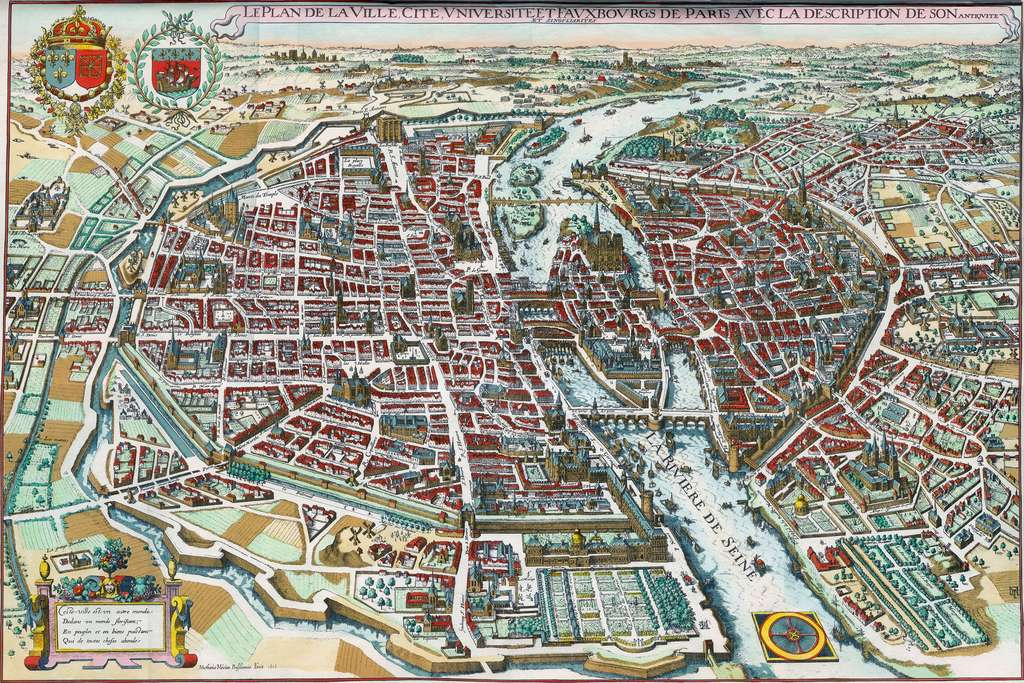 Plan de Paris par Matheus Merian en 1615. © Wikimedia Commons, domaine public