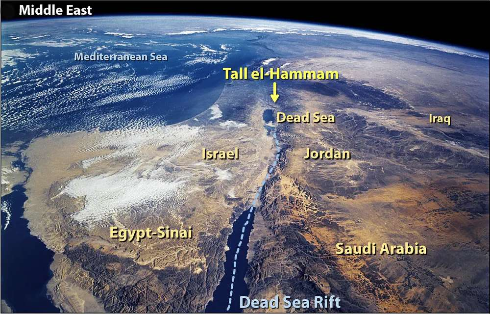 Celle que l'on appelle aujourd'hui Tall el-Hammam est située en Jordanie. © Nasa