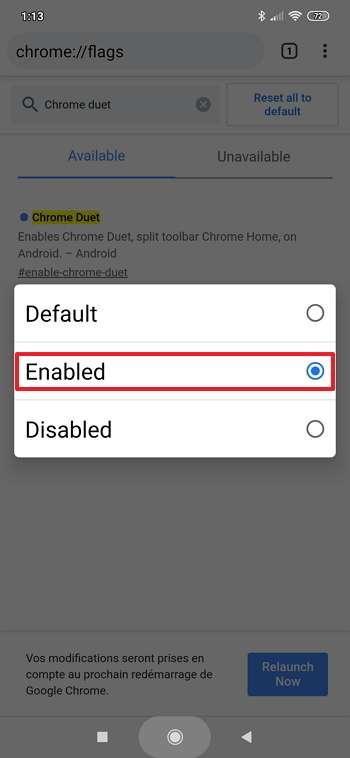 Appuyez sur « Enabled » afin de modifier l'emplacement de la barre de menu de Chrome. © Google