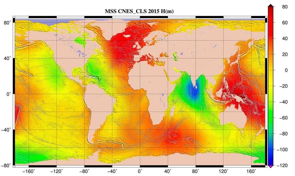 Hauteur moyenne de l'océan par rapport à l'ellipsoïde de référence T/P. Cette surface est fournie sur une grille régulière (1/60° x 1/60°). La surface moyenne océanique est la forme moyenne prise par la surface des océans durant la période de mesure. © Cnes, CLS