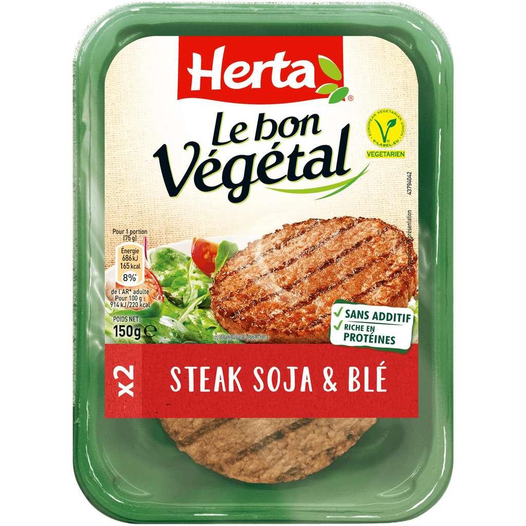 Un steak végétal est plus gras et calorique qu'un steak de bœuf. © Herta
