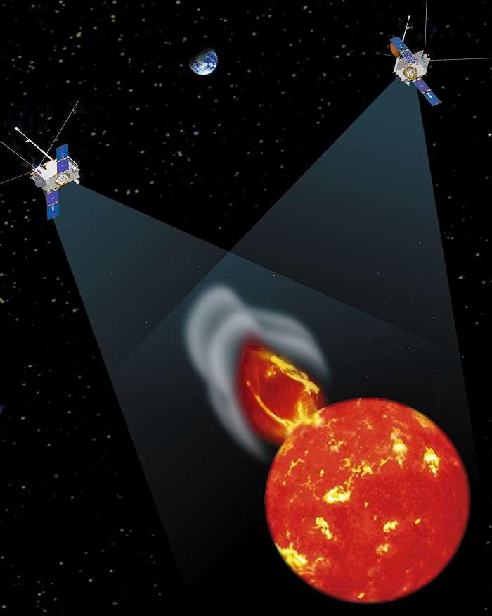 Une vue d'artiste des sondes de la mission Stereo. Crédit : Cnes